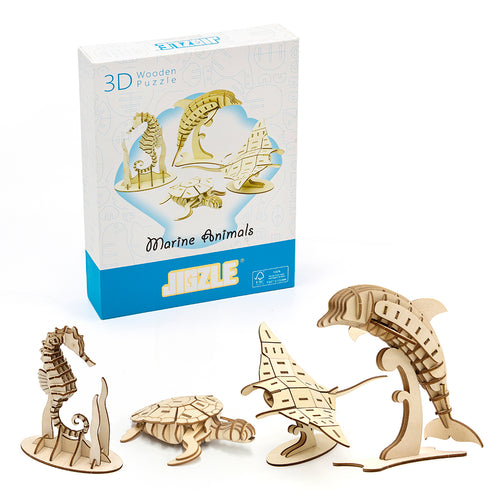 [JIGZLE Wooden Puzzle]<br>Marine Animals
