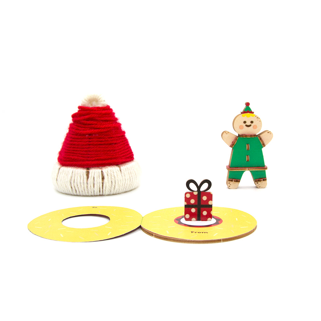 [JIGZLE Wooden Puzzle]<br>Warm Winter Pop Up Card - Christmas Hat