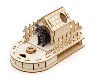 [JIGZLE Paper + Plywood Puzzle]<br>Dog House Mini Desktop Organizer with Schnauzer