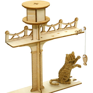 [JIGZLE Paper + Plywood Puzzle]<br>Cat Playground with Standing Cat