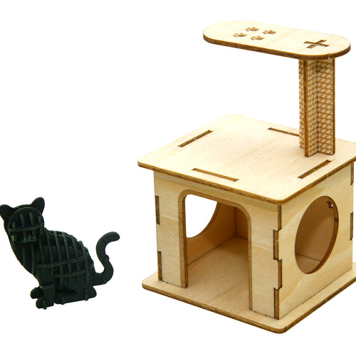 [JIGZLE Paper + Plywood Puzzle]<br>Cat Playground with Sitting Cat