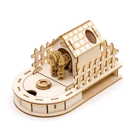 [JIGZLE Paper + Plywood Puzzle]<br>Dog House Mini Desktop Organizer with Toy Poodle