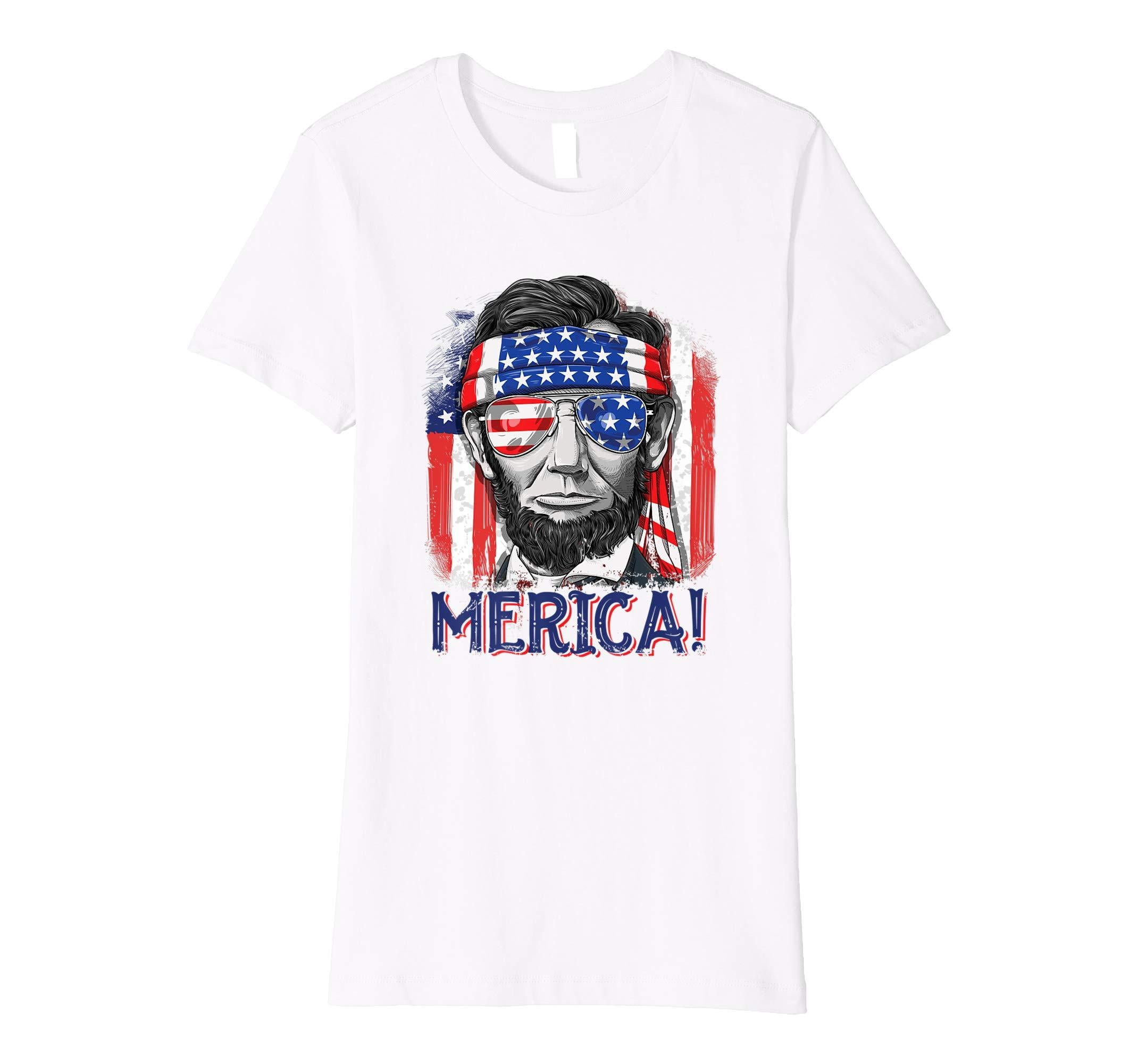 cb32c4e1f Merica Abe Lincoln T shirt 4th of July Men Boys Kids Murica - TPtee