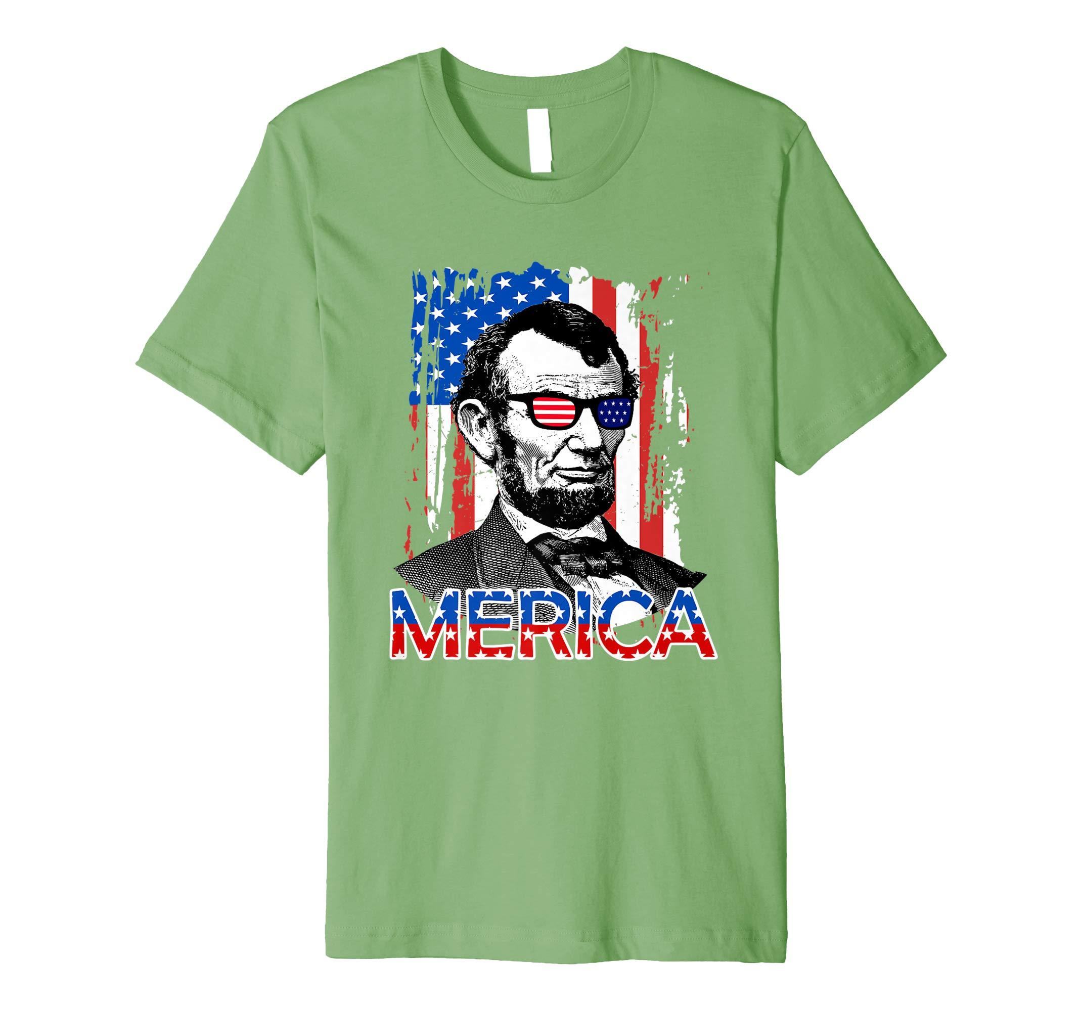 5f7a5e97f ... PREMIUM American Flag Shirt - Merica Abe Lincoln 4th of July ...