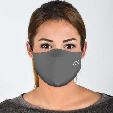 FILTER VERSION Gray (ichthys) Christian Fish Symbol Protective Filter Mask