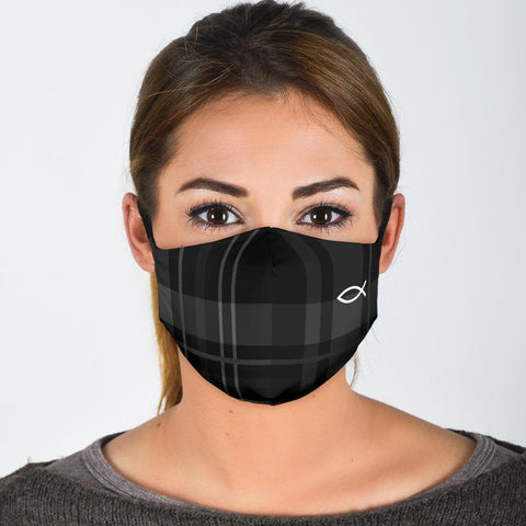 FILTER VERSION Black Plaid (ichthys) Christian Fish Symbol Protective Filter Mask
