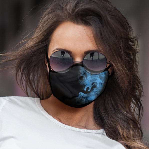 Blue Flame Dragon - Protective Cloth Face Mask
