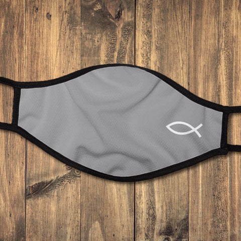Gray ΙΧΘΥΣ (ichthys) Christian Fish Symbol (Low Contrast) Protective Cloth Face Mask