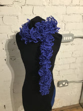 Load image into Gallery viewer, Hand Knitted Scarf - Glittery Blue