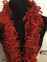 Load image into Gallery viewer, Hand Knitted Scarf - Glittery Red