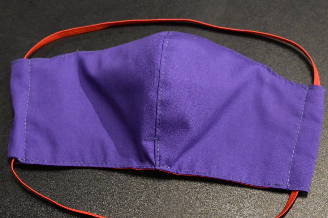 Single - Shaped Face Mask: Purple w/ Red Lining - REDUCED