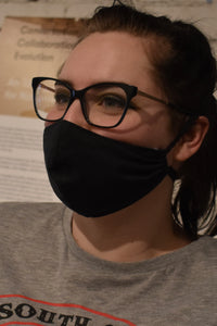 Single - Shaped Face Mask: Black with Red Lining - Reduced