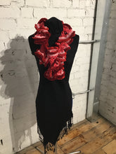 Load image into Gallery viewer, Hand Knitted Scarf - Fluffy Red & Pink