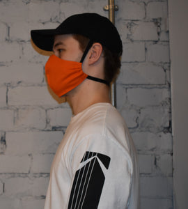 Unisex Face Mask, Orange Size L, side view with head elastic