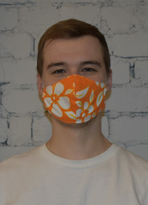 Single - Shaped Face Mask: Orange Floral - Buy One Give One