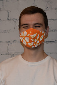 Unisex Face Mask, Orange Floral Size R