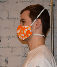 Load image into Gallery viewer, Unisex Face Mask, Orange Floral, Size R, side view with head elastic