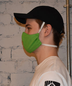 Single - Shaped Face Mask: Green w/ Sand Lining - REDUCED