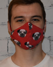 Load image into Gallery viewer, 2 Pack - Shaped Face Mask: Red Pug & Red Spotty - Buy One Give One