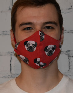 2 Pack - Shaped Face Mask: Red Pug & Red Spotty - Buy One Give One
