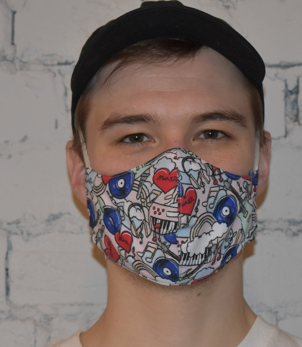 Unisex Face Mask, Pink Music design Size R