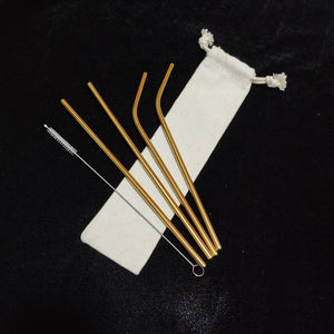 Reusable Metal Straws - set of 4 + cleaning brush