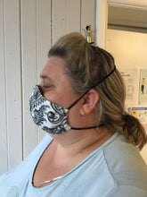 Load image into Gallery viewer, 2 Pack - Shaped Face Mask: Black Paisley & Plain Black - Buy One Give One