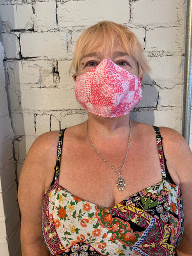 *NEW* 5 Pack - Shaped Face Mask: Pink Patchwork - Buy One Give One