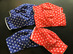 6 Pack - Shaped Reusable Face Mask: Blue/white star & Red/white star