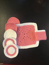 Load image into Gallery viewer, Pamper set: 100% crocheted cotton, flannel, wipes, soap bag