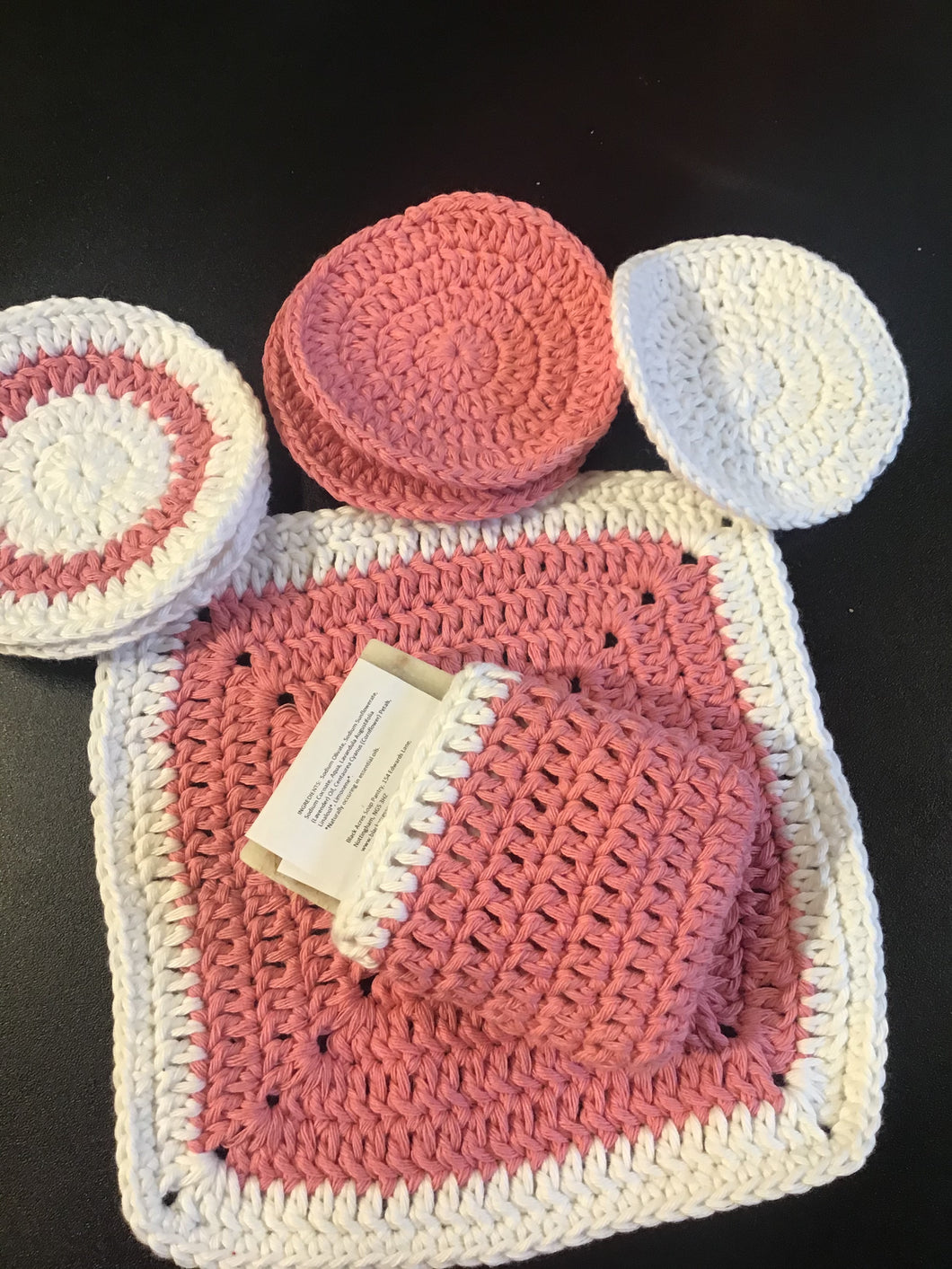 Pamper set: 100% crocheted cotton, flannel, wipes, soap bag