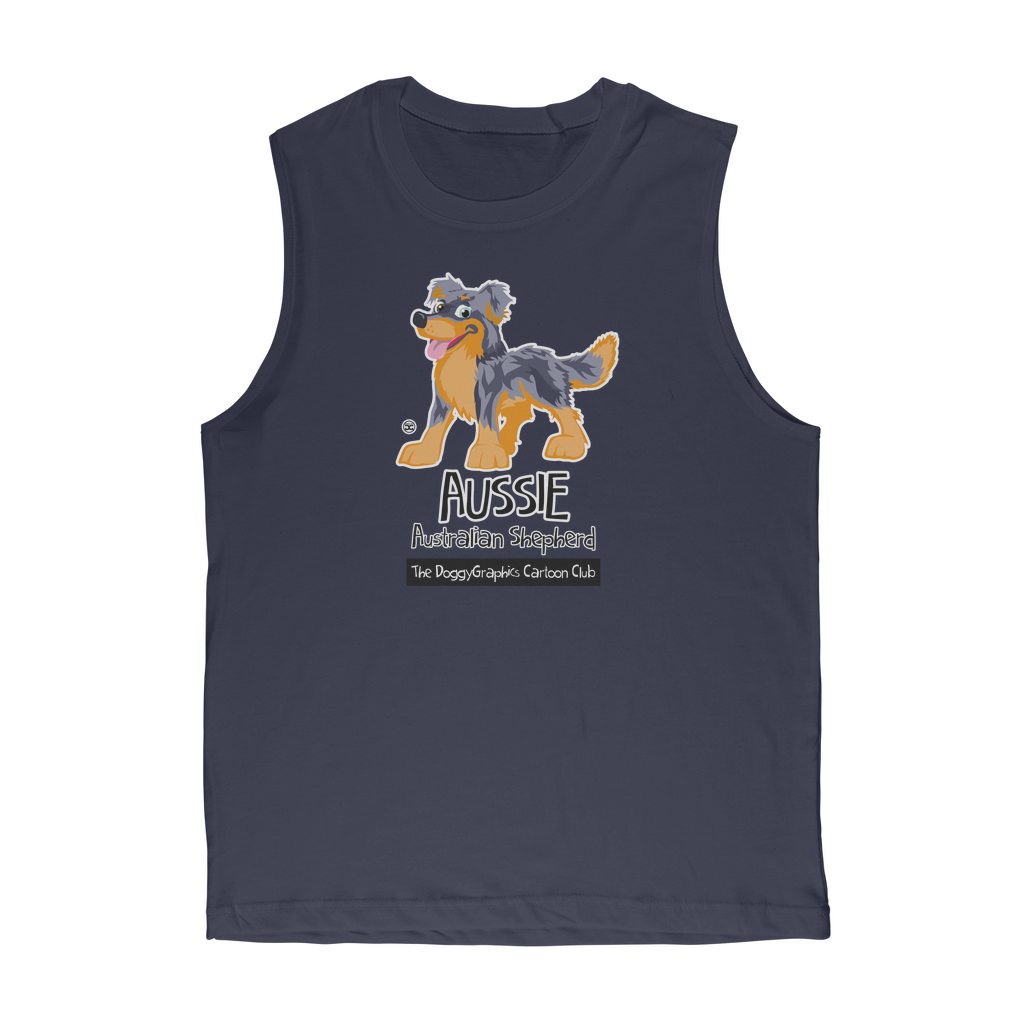 Australian Shepherd – Cartoon Club | Premium Unisex Muscle Top