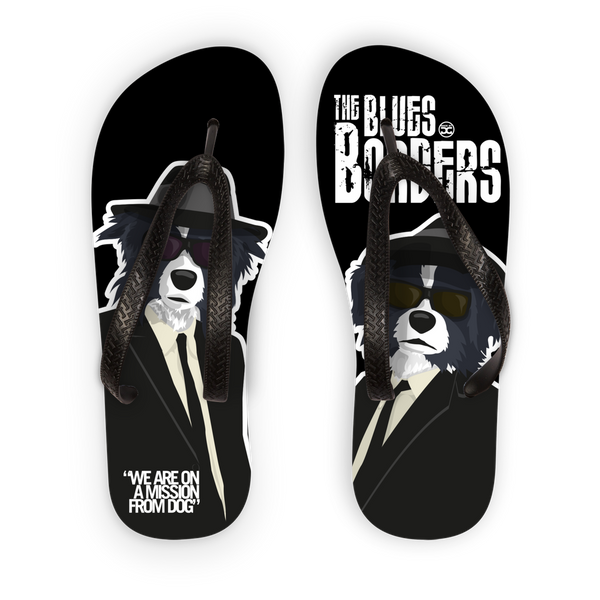 Blues Borders Adult Flip Flops