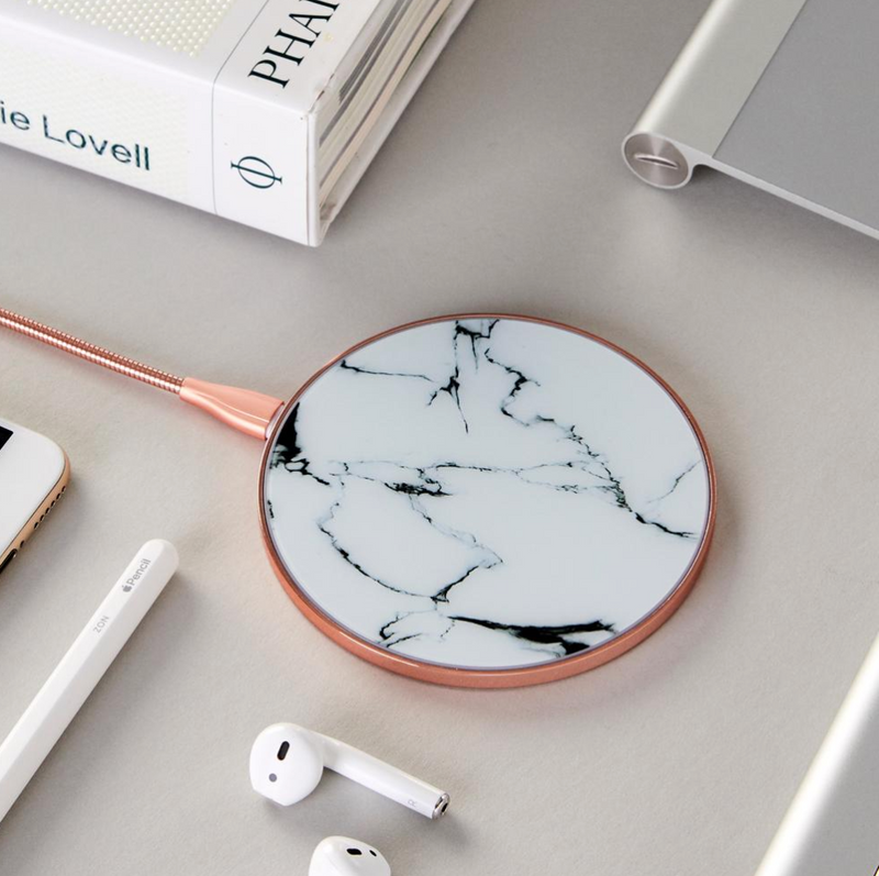 White Marble & Rose Gold Wireless Charger
