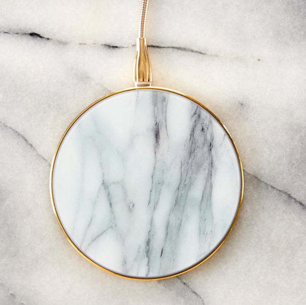 White Marble & Gold Wireless Charger