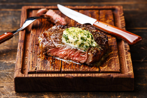 grilled steak with herb butter lone start garlic chive dip