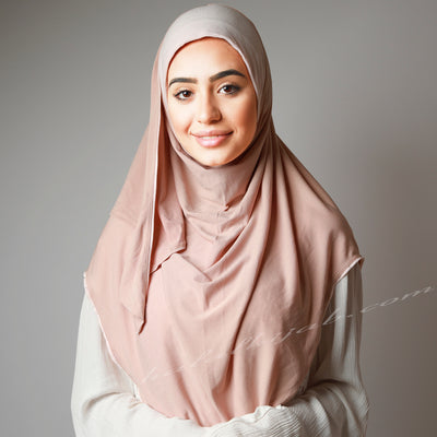 Matte Coral Blush Stretchy Instant Pinless Hijab