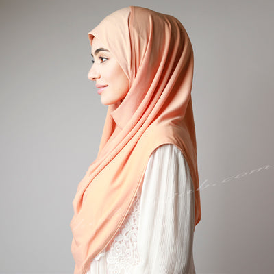 Sweet Light Matte Peach Stretchy Instant Pinless Hijab