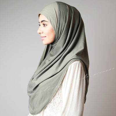 Light Dusty Matte Olive Green Instant Pinless Capless Hijab
