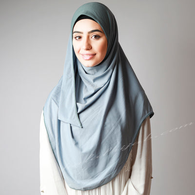 Hijab online, Hijab Women, Hijab House, Hijab style, Hijab fashion, How to wear Hijab , Light matte jeans blue stretchy instant hijab