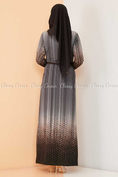 Abstract Pattern Black Modest Long Dress - back view