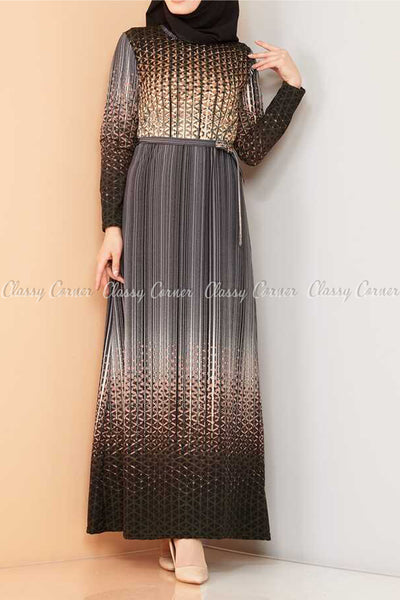 Abstract Pattern Black Modest Long Dress - front details