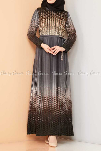 Abstract Pattern Black Modest Long Dress - front view