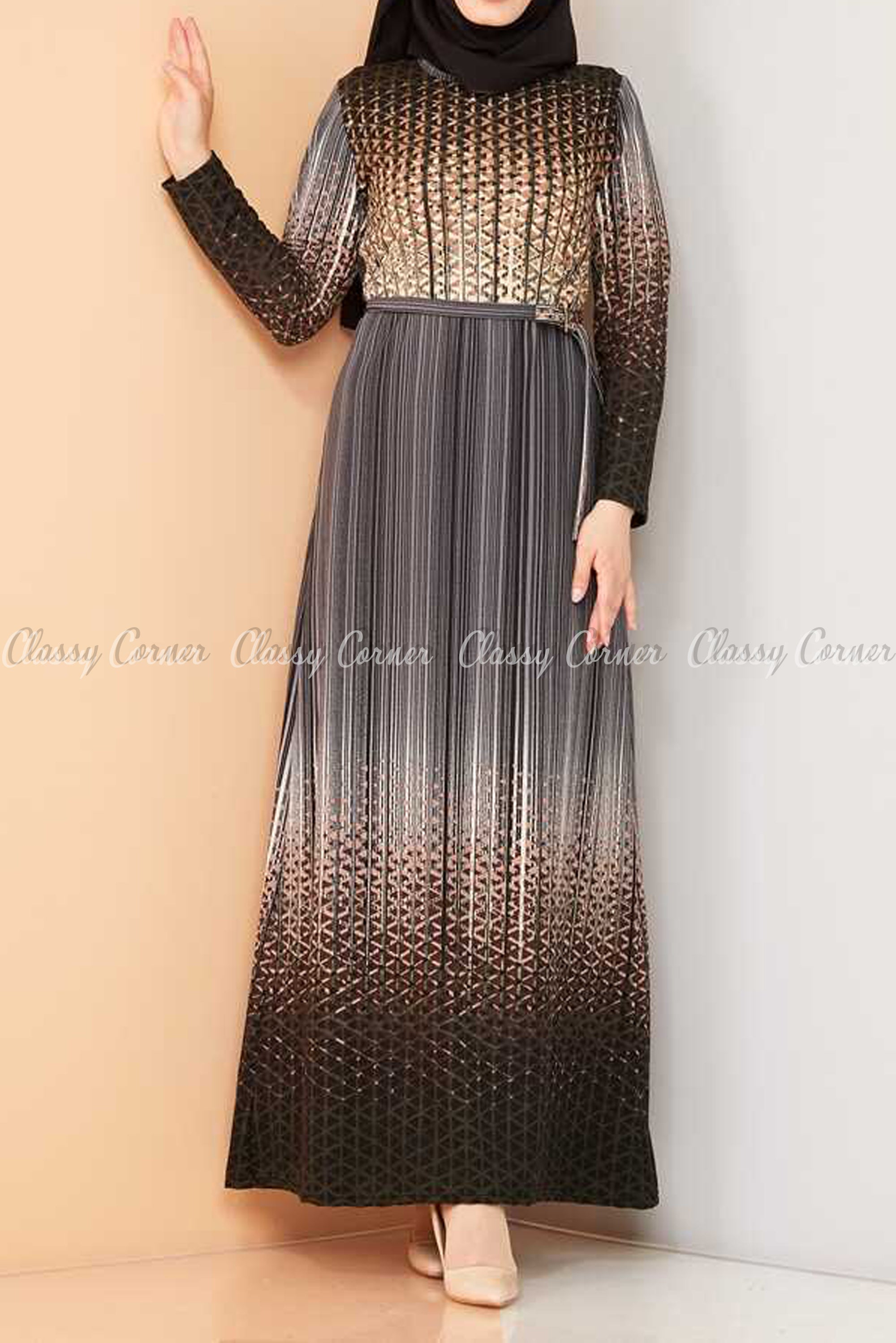 Abstract Pattern Black Modest Long Dress