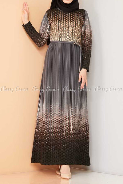 Abstract Pattern Black Modest Long Dress - full front view