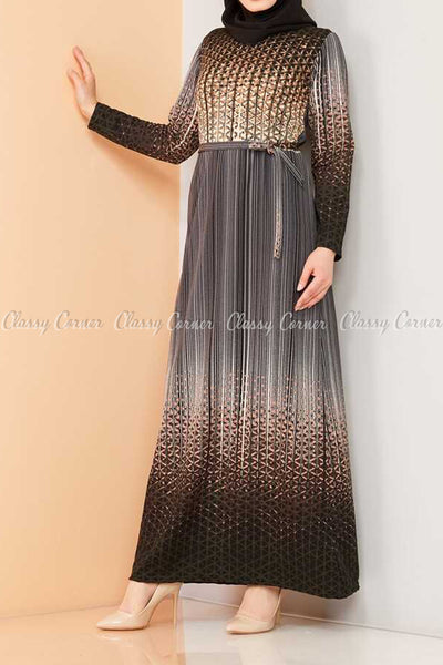 Abstract Pattern Black Modest Long Dress - side view