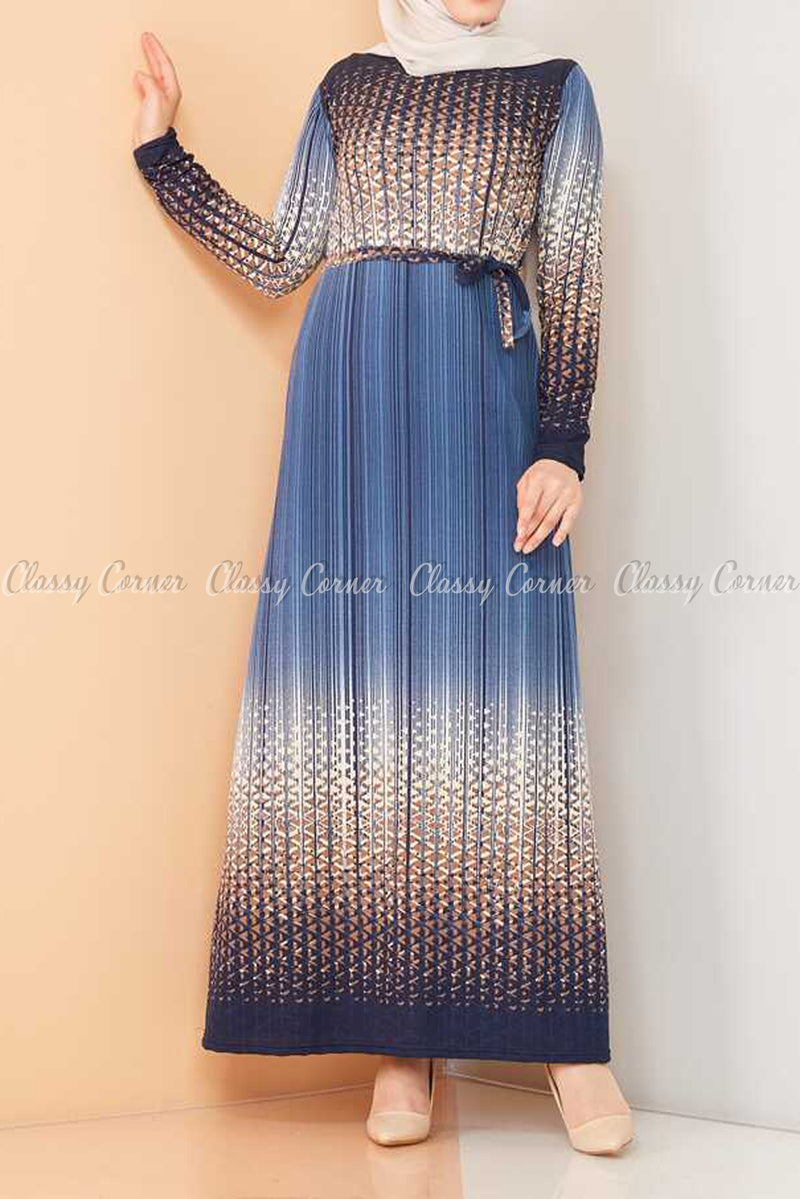 Abstract Pattern Blue Modest Long Dress - full front view