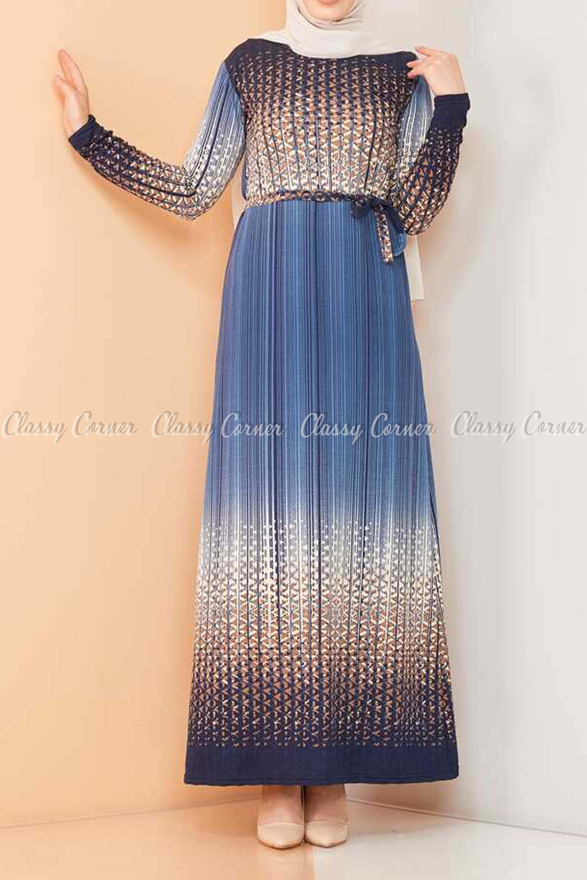 Abstract Pattern Blue Modest Long Dress