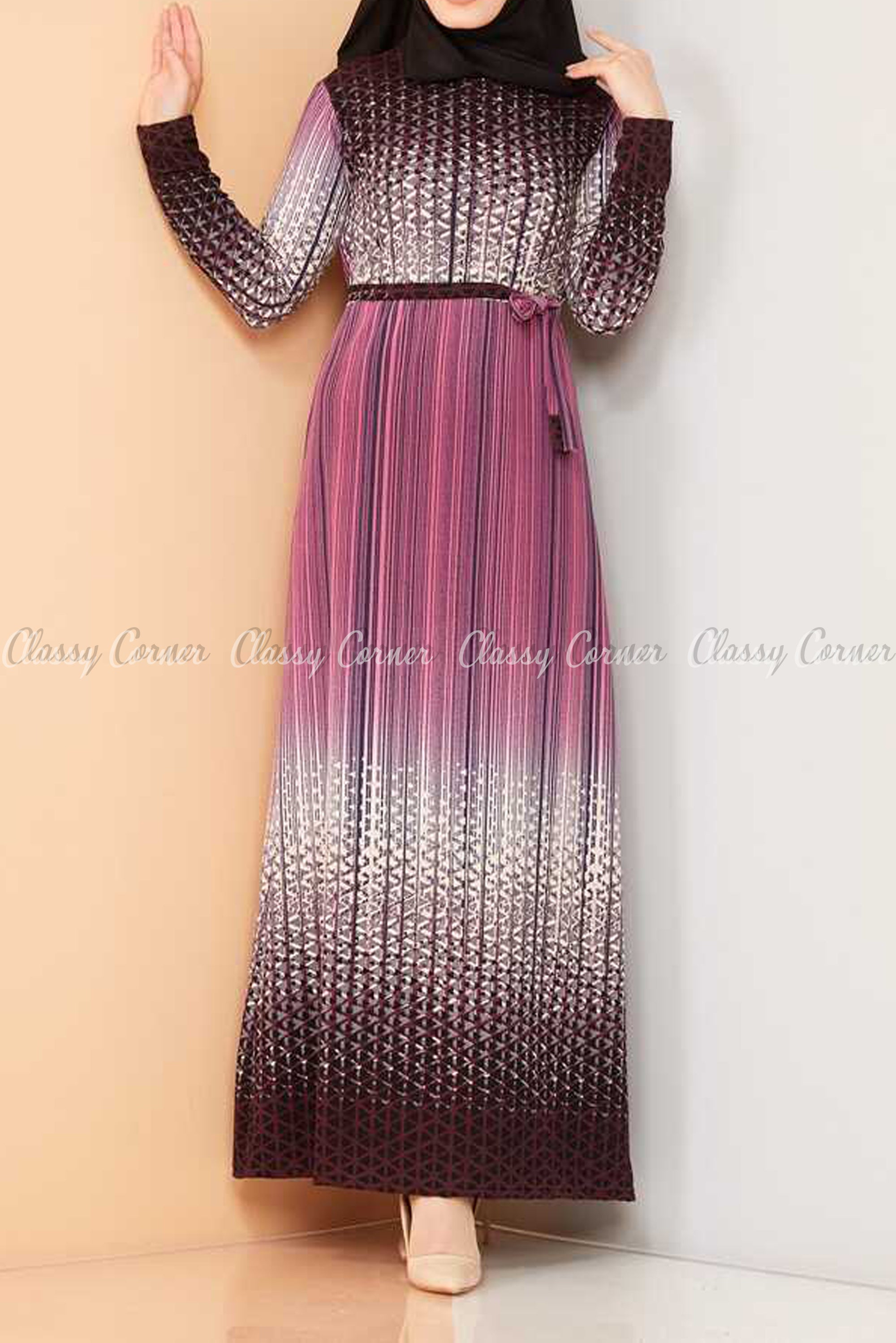 Abstract Pattern Pink Modest Long Dress