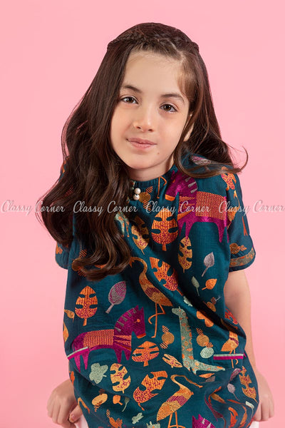 Animal and Leafy Embroidery Design Teal Kids Salwar Kameez - front closer view